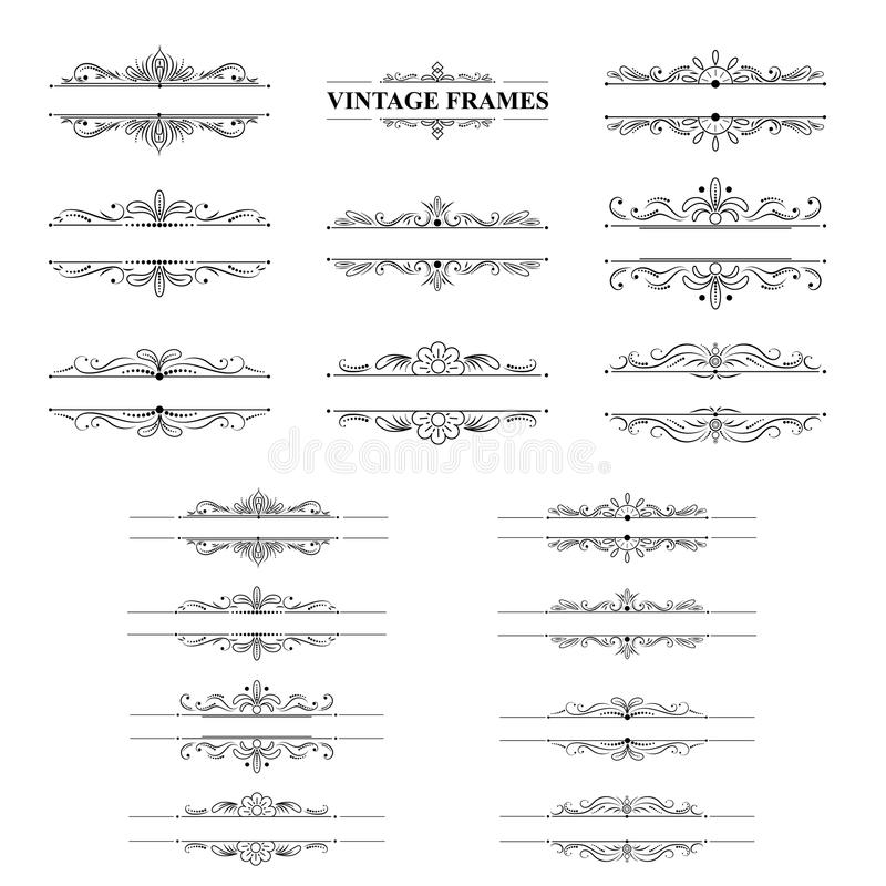 Zwart-wit strepenkader met uitstekende elementen stock illustratie