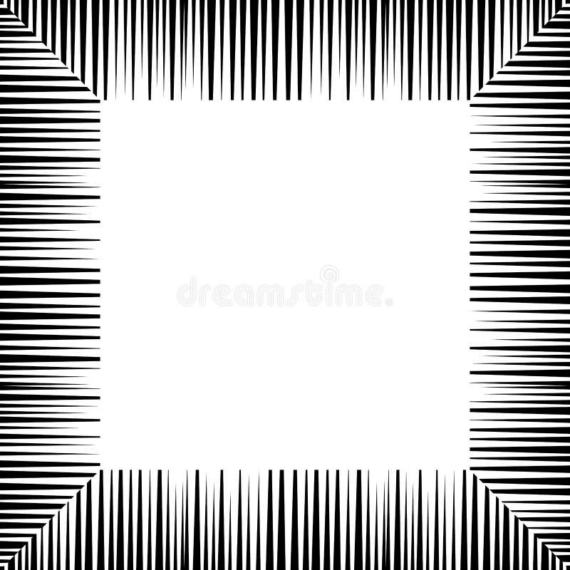 Zwart-wit strepenkader Vector geometrisch kader met plaats voor tekst Abstracte sterke geometrische achtergrond royalty-vrije illustratie