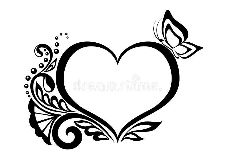 Zwart-wit symbool van een hart met bloemendesi vector illustratie