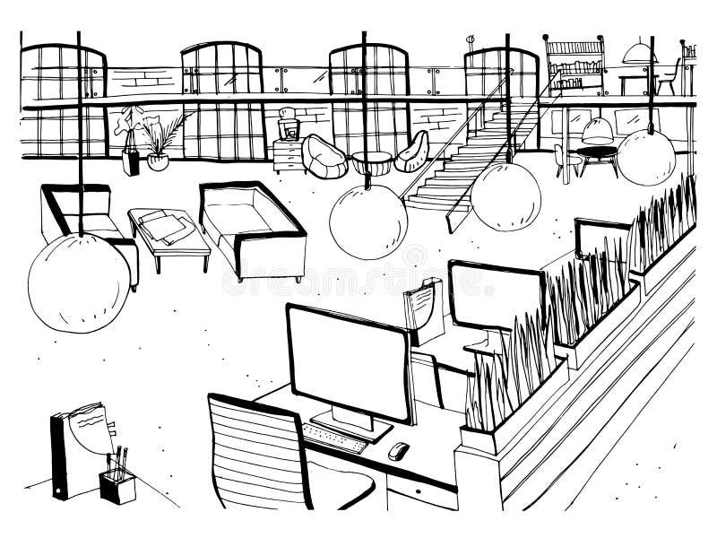 Zwart-wit tekening van binnenland van open mede-werkt ruimte met bureaus, computers, stoelen en ander modern meubilair Hand vector illustratie