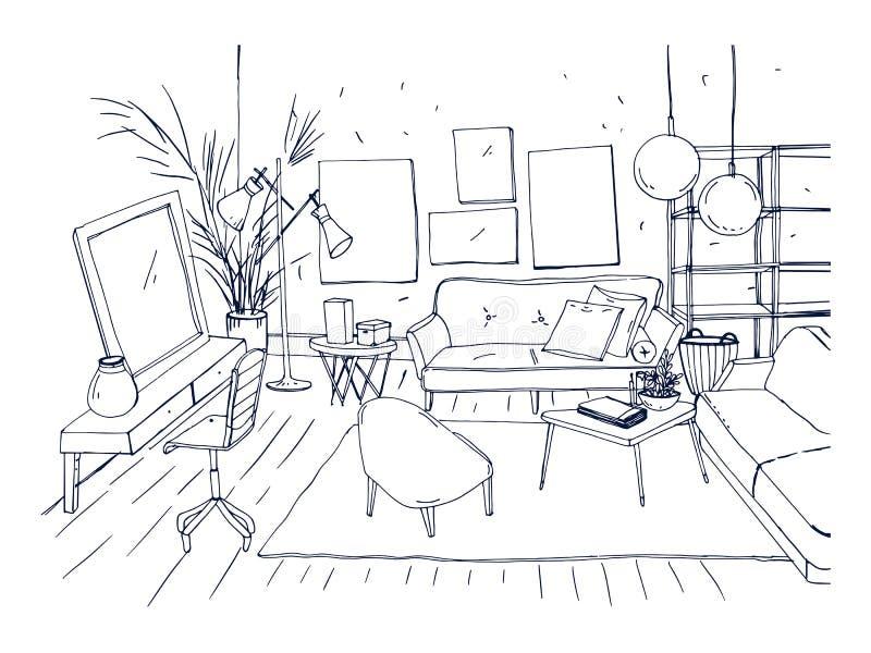 Zwart-wit tekening van binnenland van woonkamer met bank, stoelen, koffietafel vector illustratie