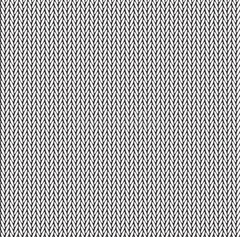 Zwart-wit textuur gebreid sweater naadloos patroon vector illustratie