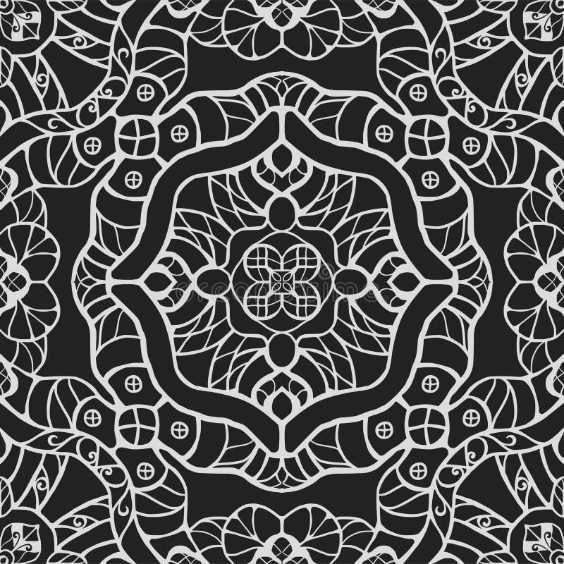 Zwart-wit uitstekend fantasie naadloos vectorpatroon royalty-vrije illustratie