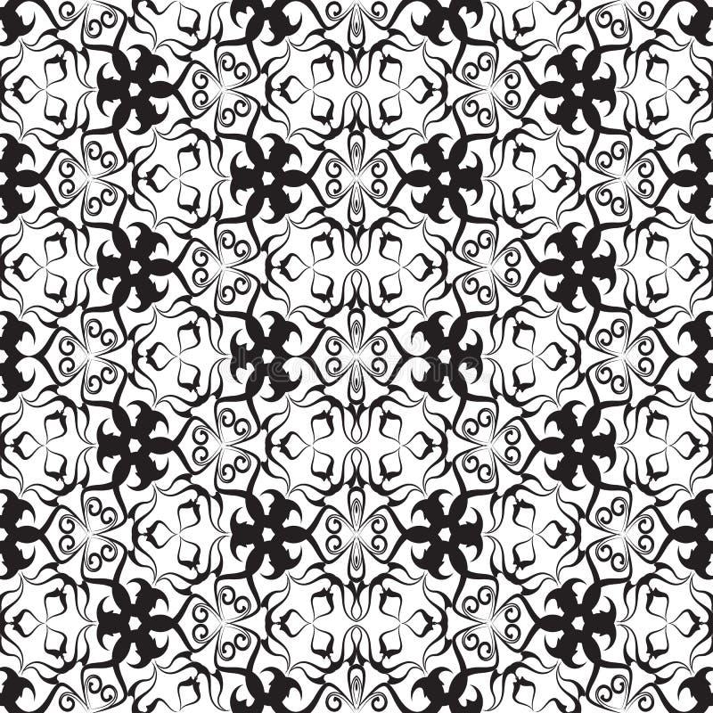 Zwart-wit uitstekend vector naadloos patroon Sierabst stock illustratie