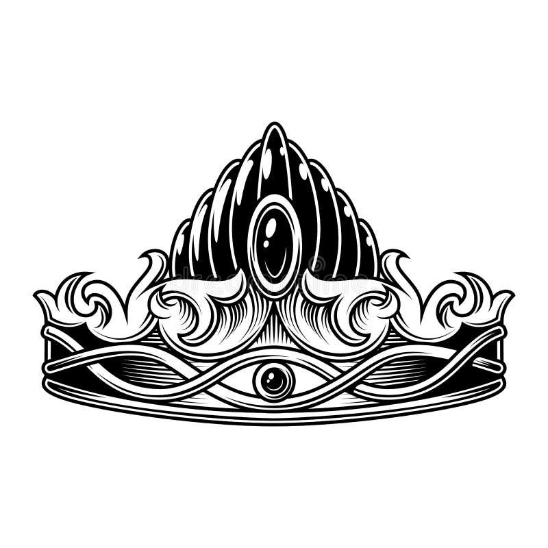Zwart-wit uitstekende kroon royalty-vrije illustratie
