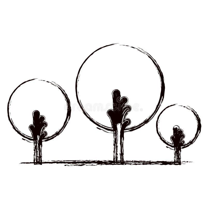 Zwart-wit vaag silhouet van abstracte die bomen met gebladerte in ronde vorm worden geplaatst stock illustratie