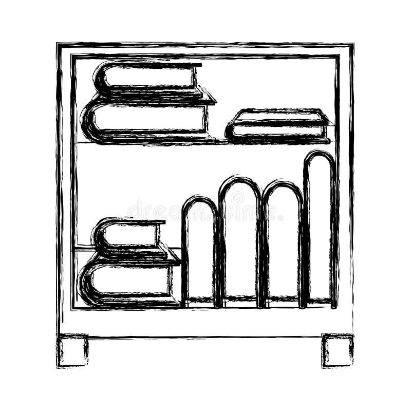 Zwart-wit vaag silhouet van decoratieve kabinetslijst met boeken vector illustratie