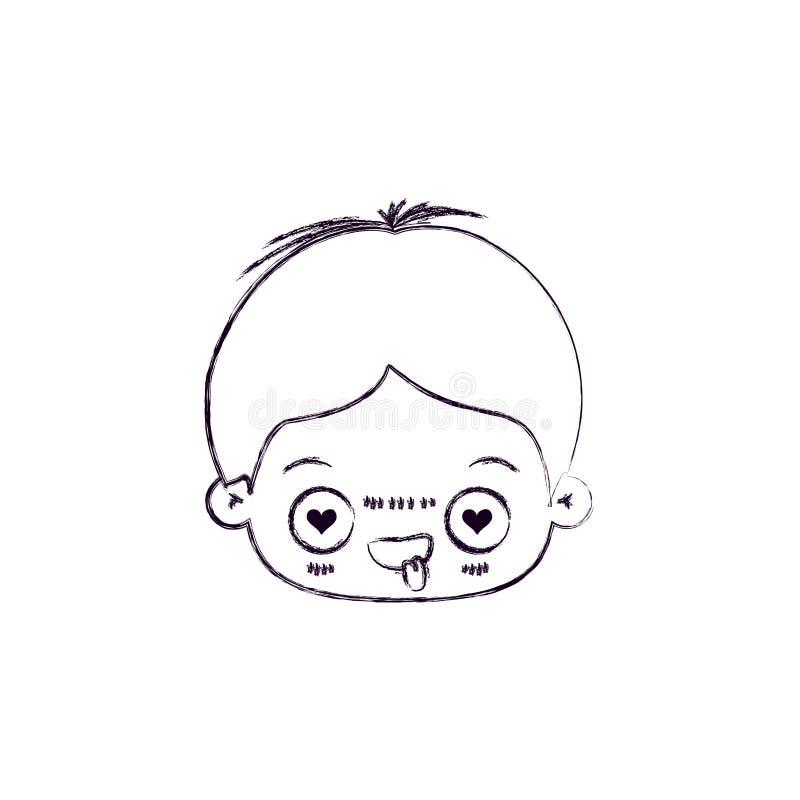 Zwart-wit vaag silhouet van gelaatsuitdrukking bekoorde kawaii weinig jongen vector illustratie