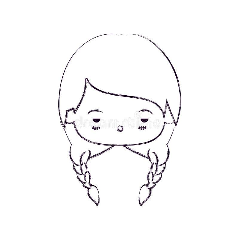 Zwart-wit vaag silhouet van meisje van gelaatsuitdrukking het droevige kawaii met gevlecht haar royalty-vrije illustratie