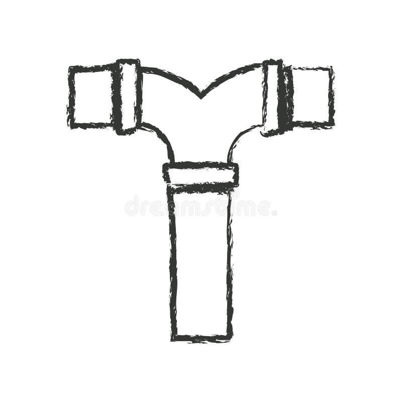 Zwart-wit vaag silhouet van rioolbuist verbinding vector illustratie