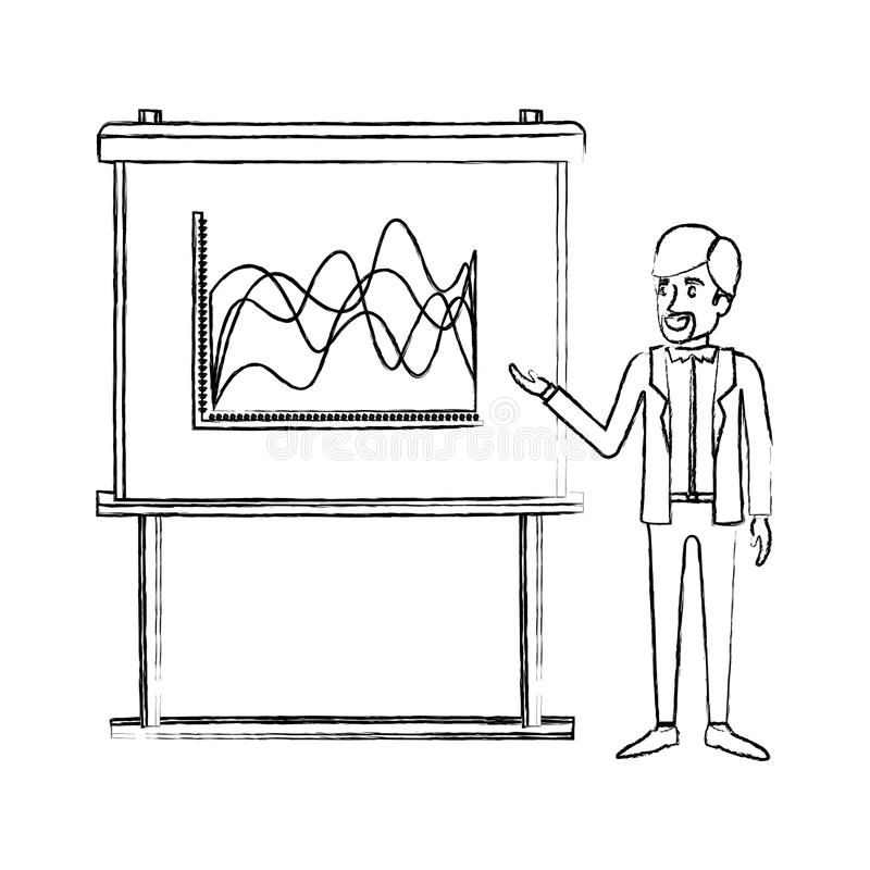 Zwart-wit vaag silhouet van zakenman gebaard in formeel kostuum die presentatie maken stock illustratie