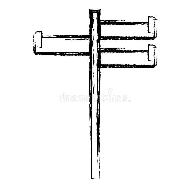 Zwart-wit vage silhouetbar met drie banners vector illustratie