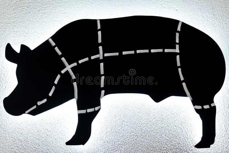 Zwart-wit varkensknipsel royalty-vrije illustratie