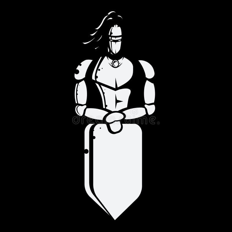 Zwart-wit vectorbeeld van ridder met schild royalty-vrije illustratie
