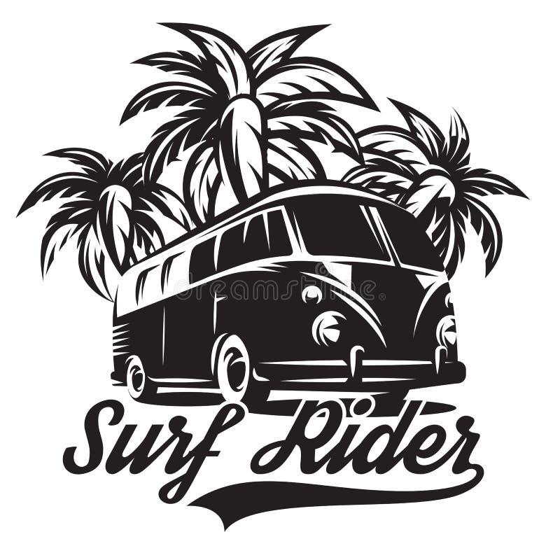 Zwart-wit vectorillustratie op thema van het surfen met drie palmen stock illustratie