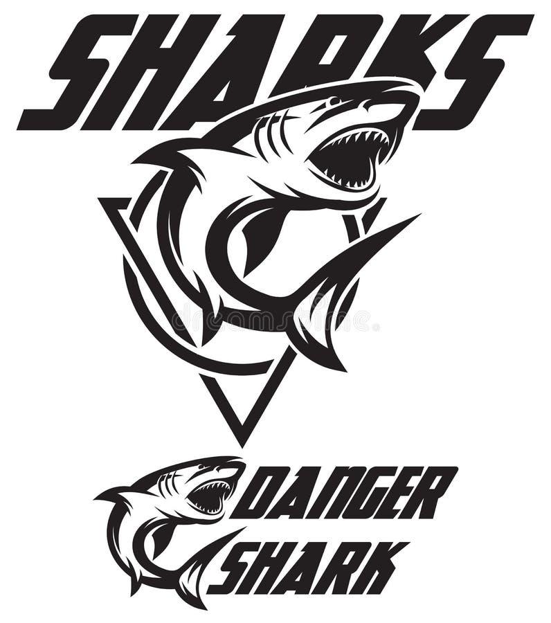 Zwart-wit vectorillustratie van een toothy haai stock illustratie