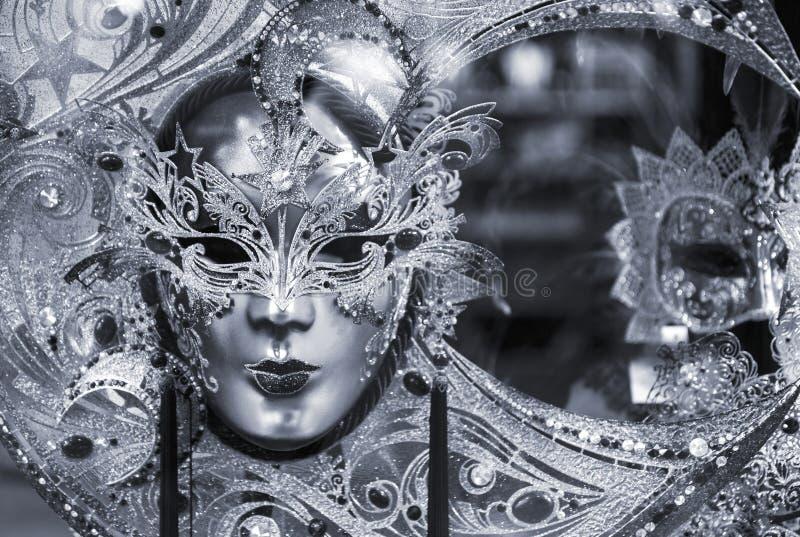 Zwart-wit Venetiaans masker royalty-vrije stock fotografie