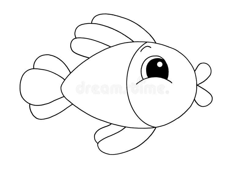 Zwart-wit - Vissen stock illustratie