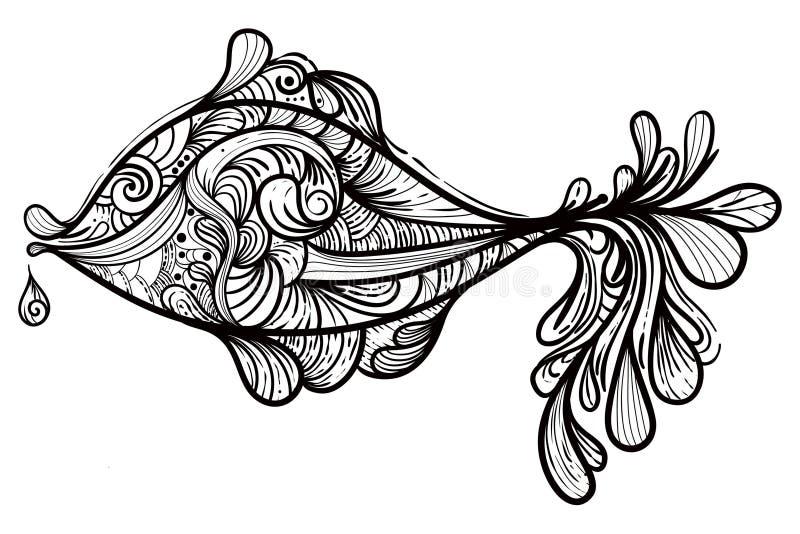 Zwart-wit vissen vector illustratie