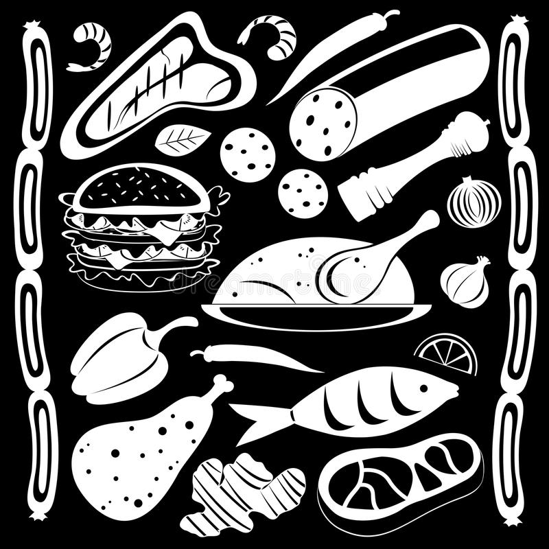 Zwart-wit voedselpatroon stock illustratie