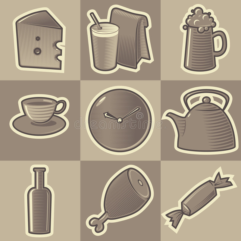 Zwart-wit voedselpictogrammen vector illustratie