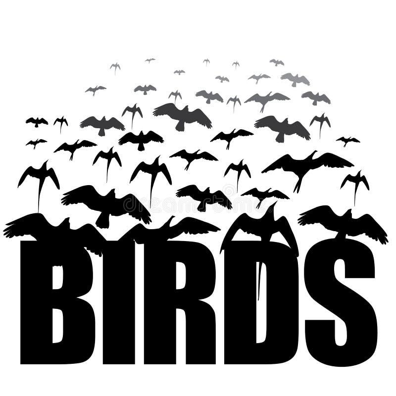 Zwart-wit Vogelssilhouet stock illustratie