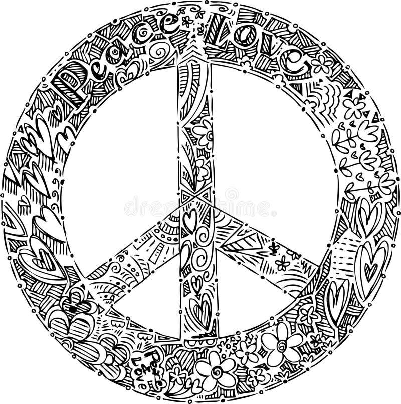 Zwart-wit VREDESsymbool stock illustratie
