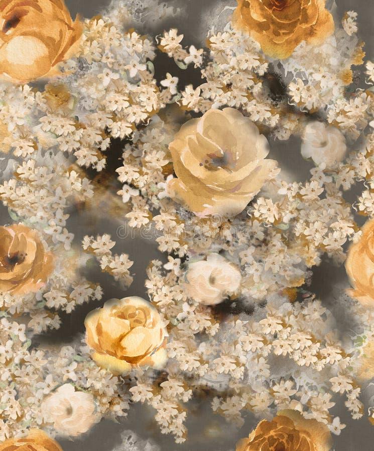 Zwart-wit waterverf gouden decoratieve bloemen op een donkere achtergrond - een groot patroon voor behang royalty-vrije illustratie