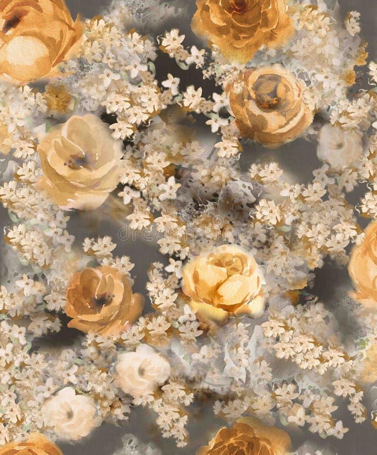 Zwart-wit waterverf gouden decoratieve bloemen op een donkere achtergrond - een groot patroon voor behang vector illustratie