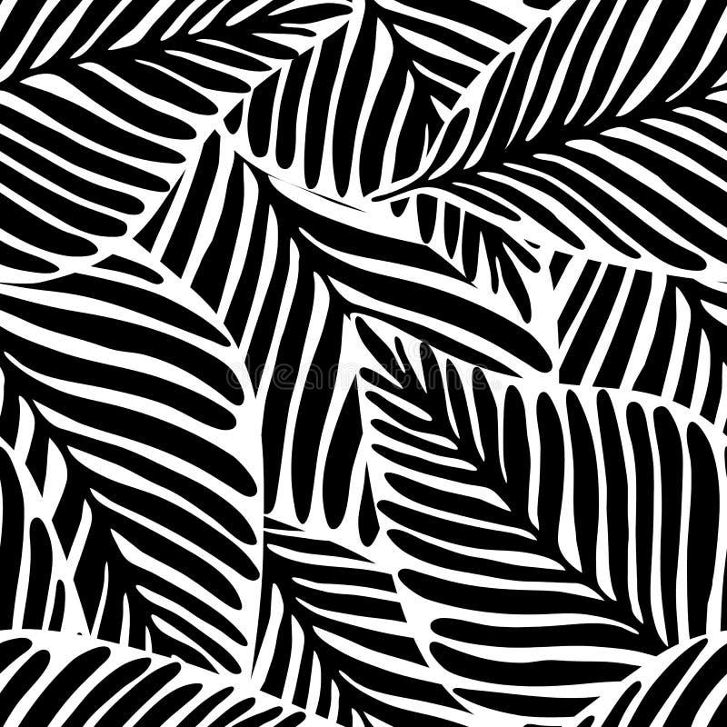 Zwart-wit Wildernis geometrisch naadloos patroon Exotische installatie stock illustratie
