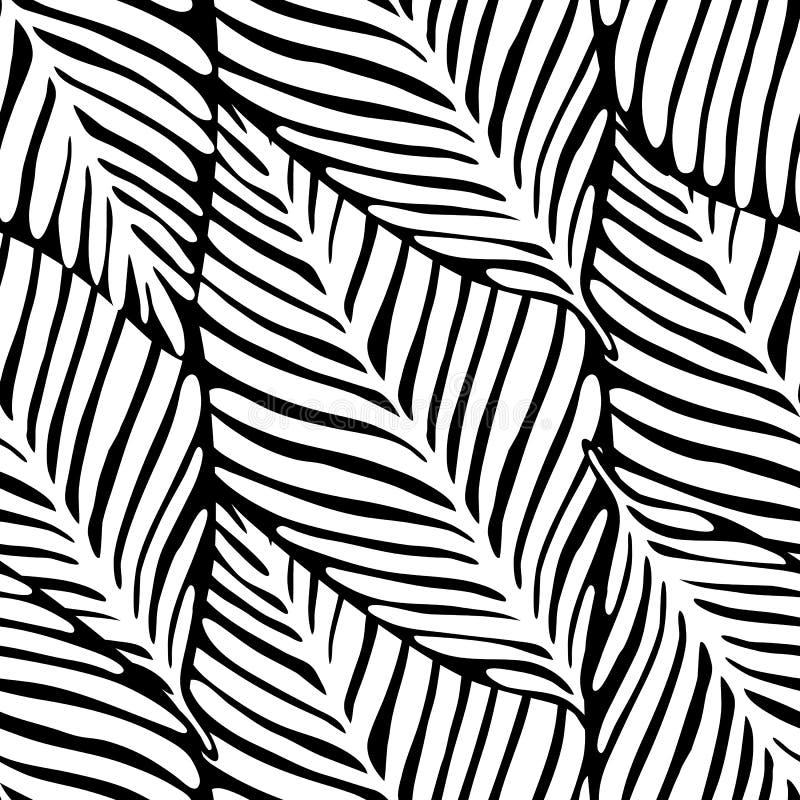 Zwart-wit wildernis naadloos patroon Exotische installatie Tropisch patroon stock illustratie