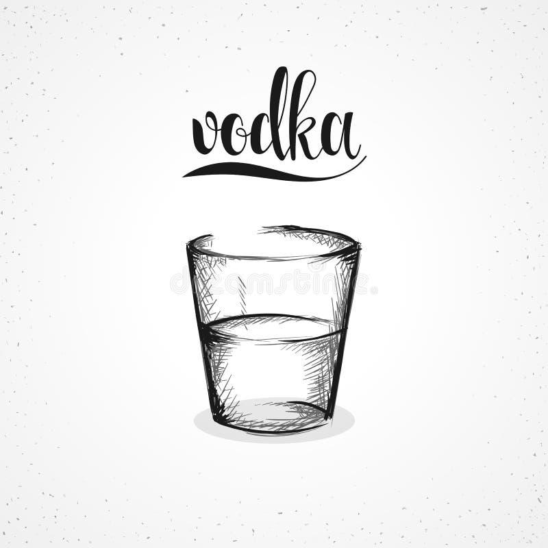 Zwart-wit wodka in glas met kalligrafie Schets met de hand royalty-vrije illustratie