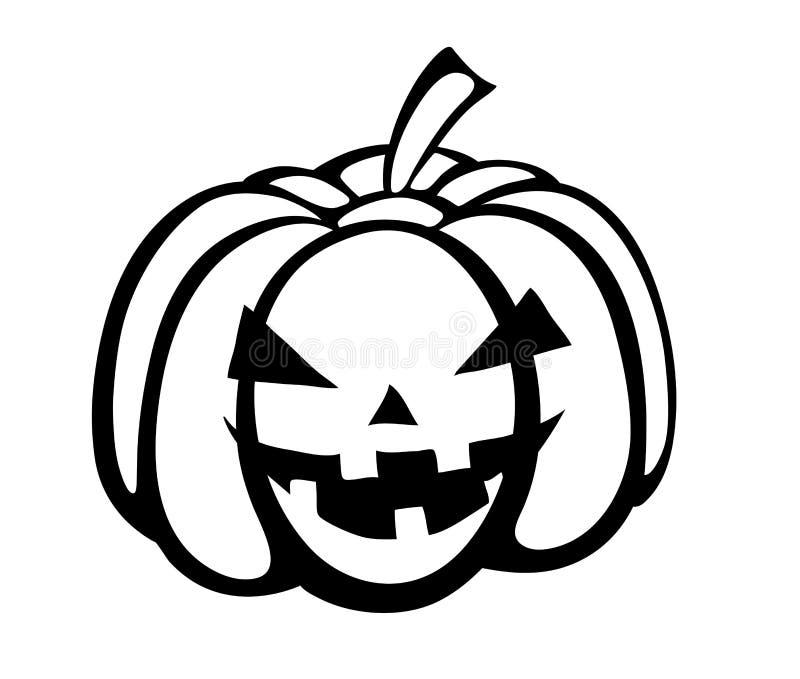 Zwart-wit zwart-wit silhouet van pompoen F vector illustratie