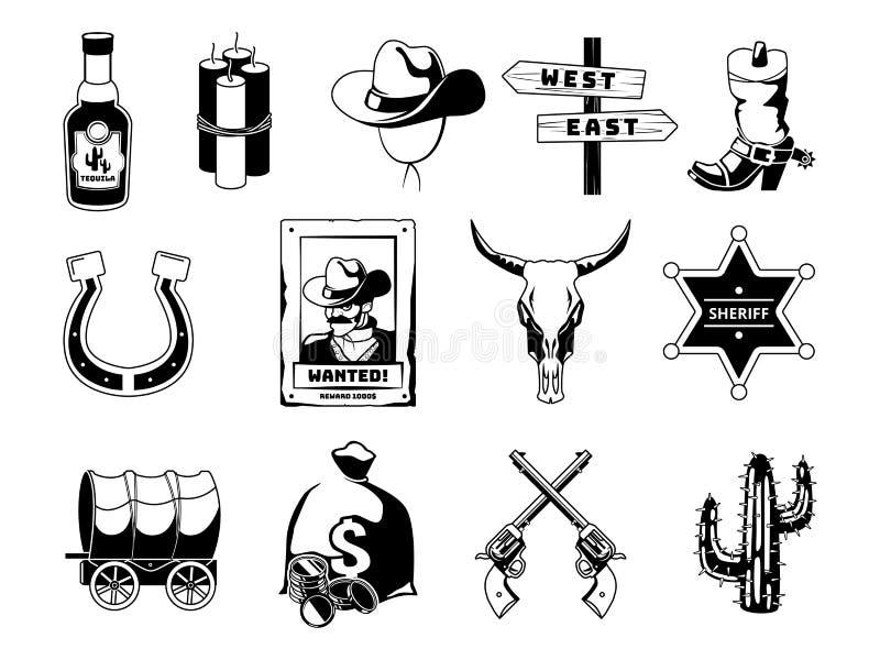 Zwart-wit zwarte illustraties Thema van wilde het westencowboy, sheriff, kanonnen en anderen pictogrammen vector illustratie