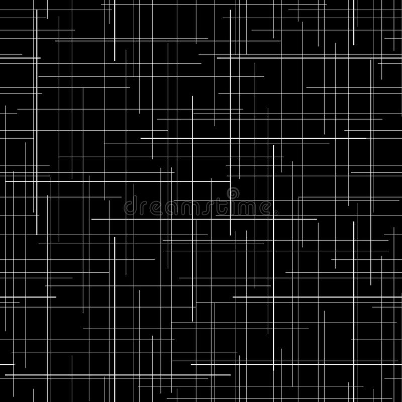 Zwart-witte abstracte achtergrond de textuur van de plaidstof Willekeurige lijnen Naadloos patroon royalty-vrije illustratie
