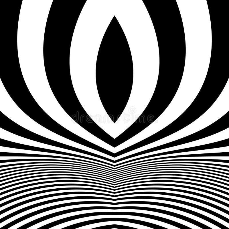 Zwart-witte abstracte gestreepte achtergrond Optisch art stock illustratie