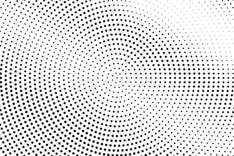 Zwart-witte abstracte halftone vectorachtergrond Diagonale gradiënt op dotworktextuur De cirkel stippelde halftone stock illustratie