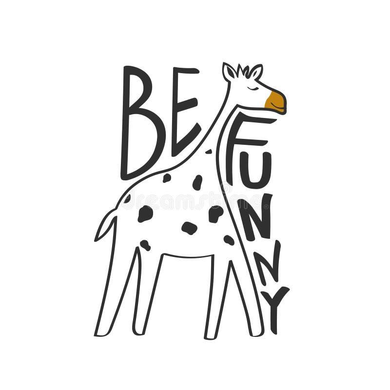 Zwart-witte achtergrond, gelukkige giraf en Engelse tekst Grappig ben Decoratieve leuke achtergrond met dier stock illustratie