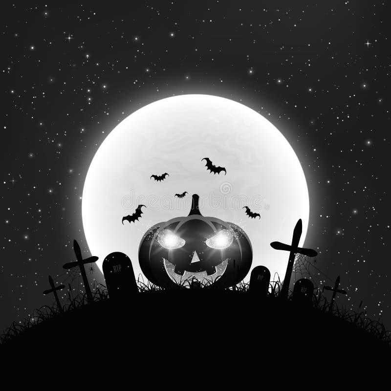 Zwart-witte Achtergrond voor Halloween in retro stijl Beeldverhaalpompoen in de begraafplaats Volle maan en realistische sterrig stock illustratie
