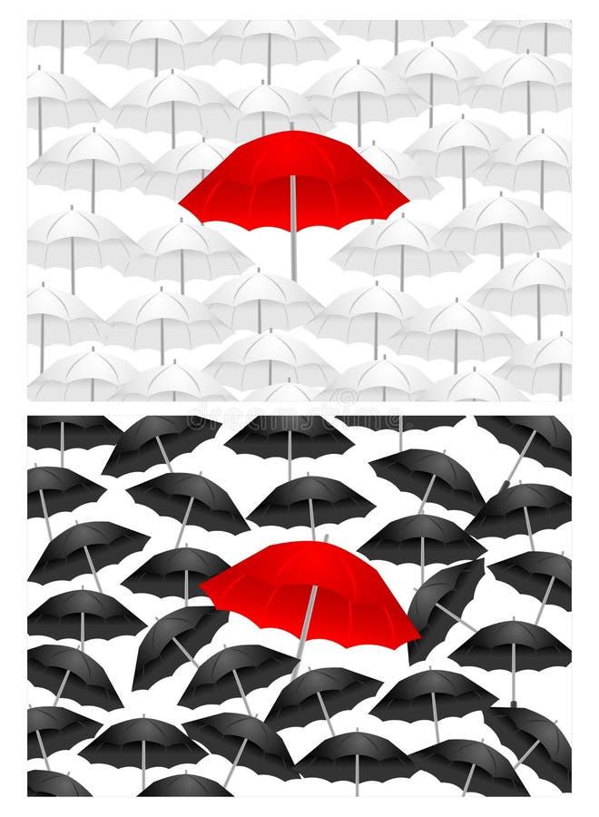 Zwart-witte achtergronden met rode paraplu, cdr stock illustratie