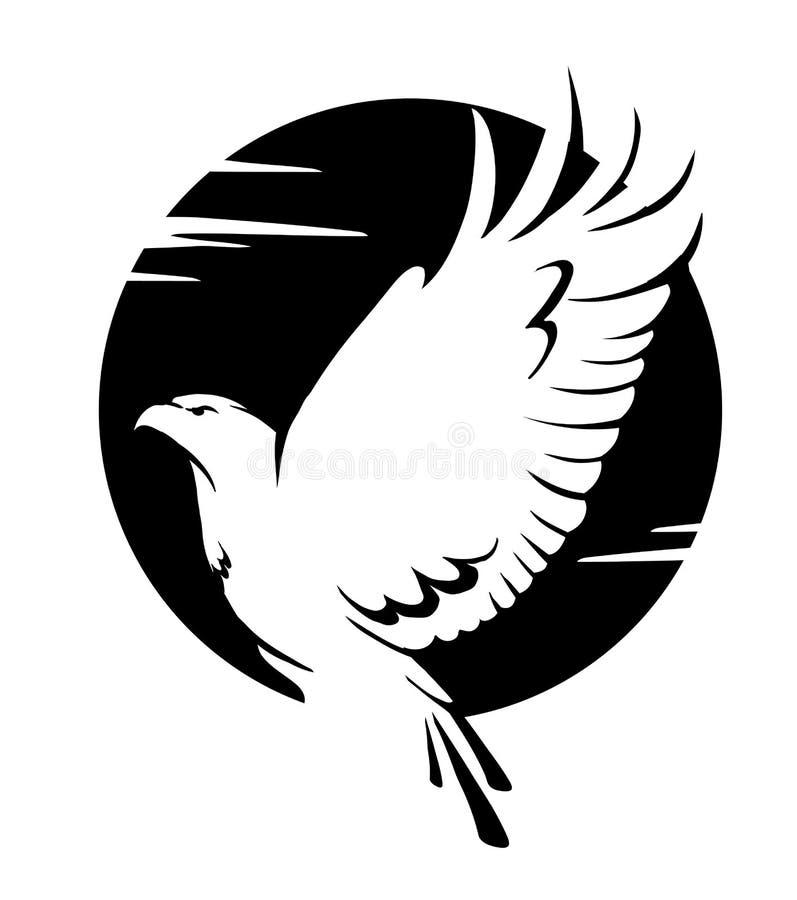 Zwart-witte adelaar vector illustratie
