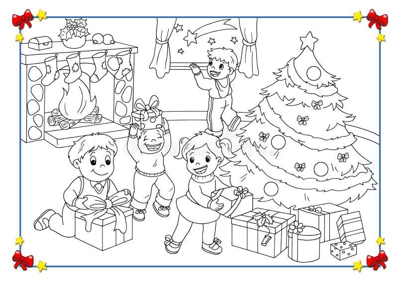 Zwart-witte affiche van Kerstmis vector illustratie
