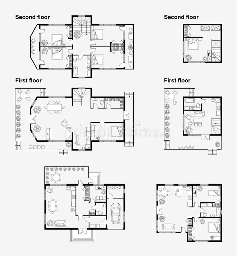 Zwart-witte architecturale plannen royalty-vrije illustratie