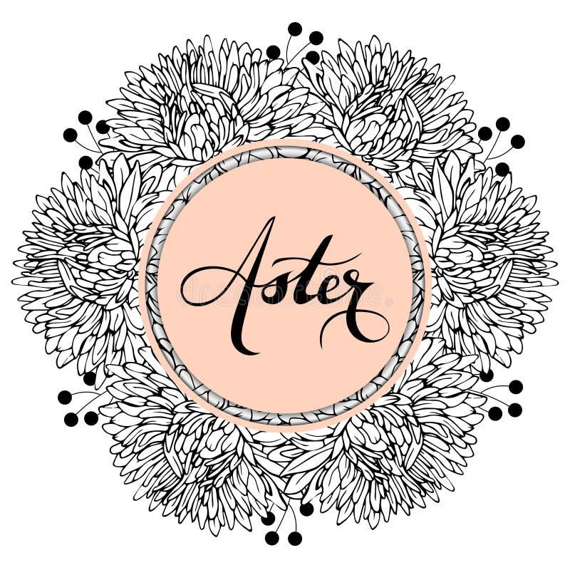 Zwart-witte asterbloemen met takjes stock illustratie