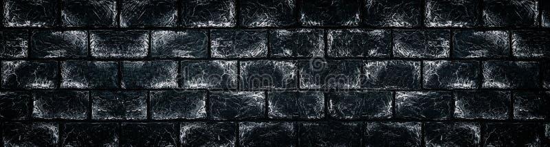 Zwart-witte bakstenen muur - brede donkergrijze backgro van steenblokken vector illustratie