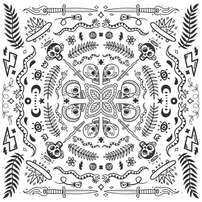 Zwart-witte bandana, de oude elementen van de schooltatoegering in krabbelstijl met slangen, schedels, vleten en knifes vectorill royalty-vrije illustratie