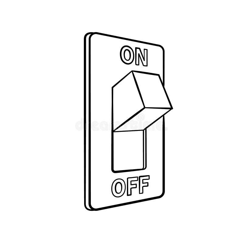 Zwart-witte beeldverhaal elektrische die schakelaar, hand, geïsoleerde schetsstijl, op witte achtergrond wordt getrokken stock illustratie