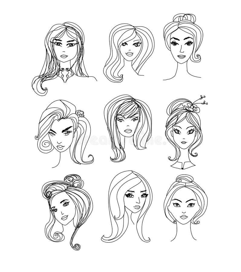 Zwart-witte Beeldverhaalillustratie van de Gezichten van Vrouwenkarakters stock illustratie