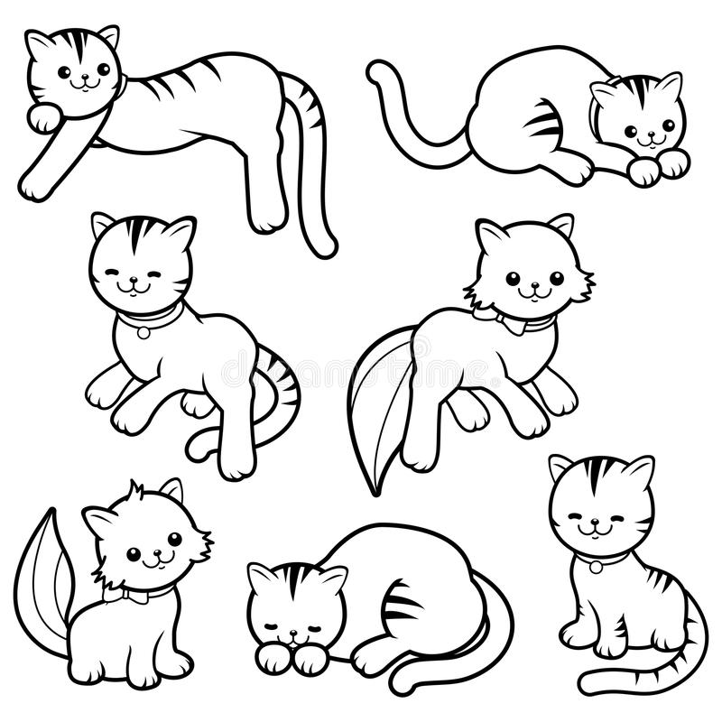 Zwart-witte beeldverhaalkatten stock illustratie
