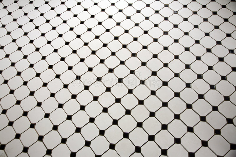 Zwart-witte betegelde vloer royalty-vrije stock foto's